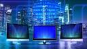 Internet, Netzwerk, Online, Stadt, Monitore, Binärcode