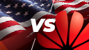 Usa, Huawei, China, Sanktionen, Versus, Fahne, VS, vs., US, America, flag, Huawei vs. USA, Huawei versus USA, China vs. USA, USA vs. China, USA vs. Huawei, USA vs Huawei