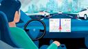 DesignPickle, Auto, Fahrzeug, Autos, Datenübertragung, Selbstfahrendes Auto, Stockfotos, Autonomes Auto, Traffic, Selbstfahrend, Verkehr, Autopilot, Comic, autonomes Fahren, Vernetzung, Autobahn, Autonome Fahrzeuge, Selbstfahrende Autos, Selbstfahren
