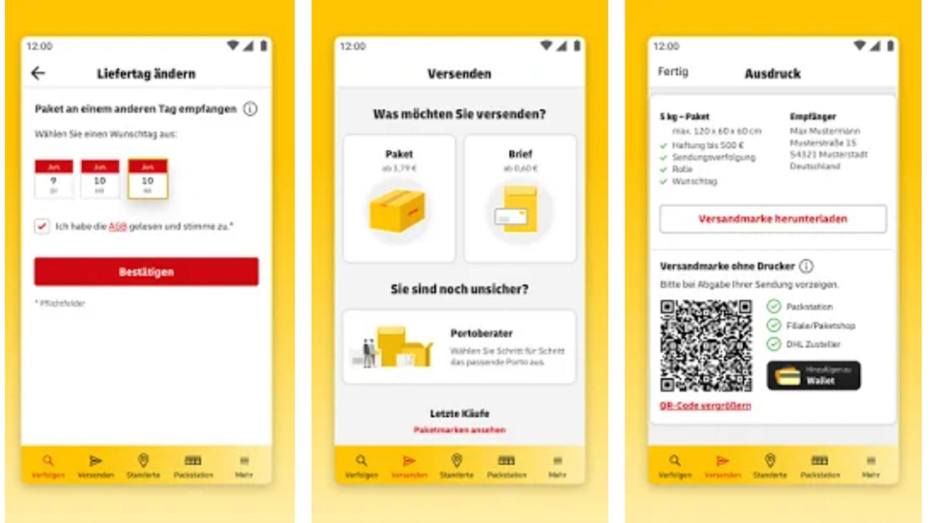 App, Porto, Post & DHL App, Briefporto