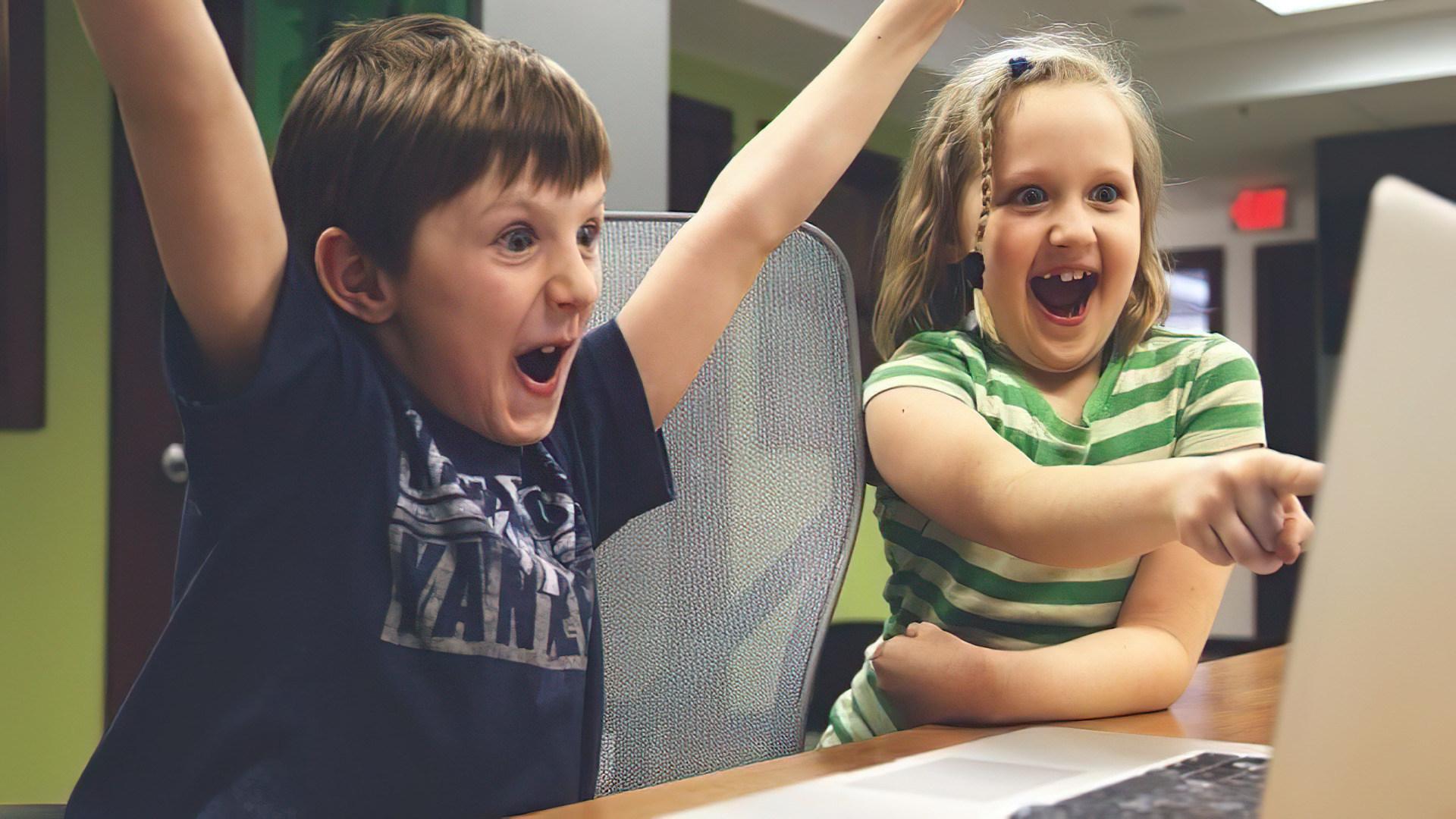 Computer, Kinder, Schule, Schüler, Jubel