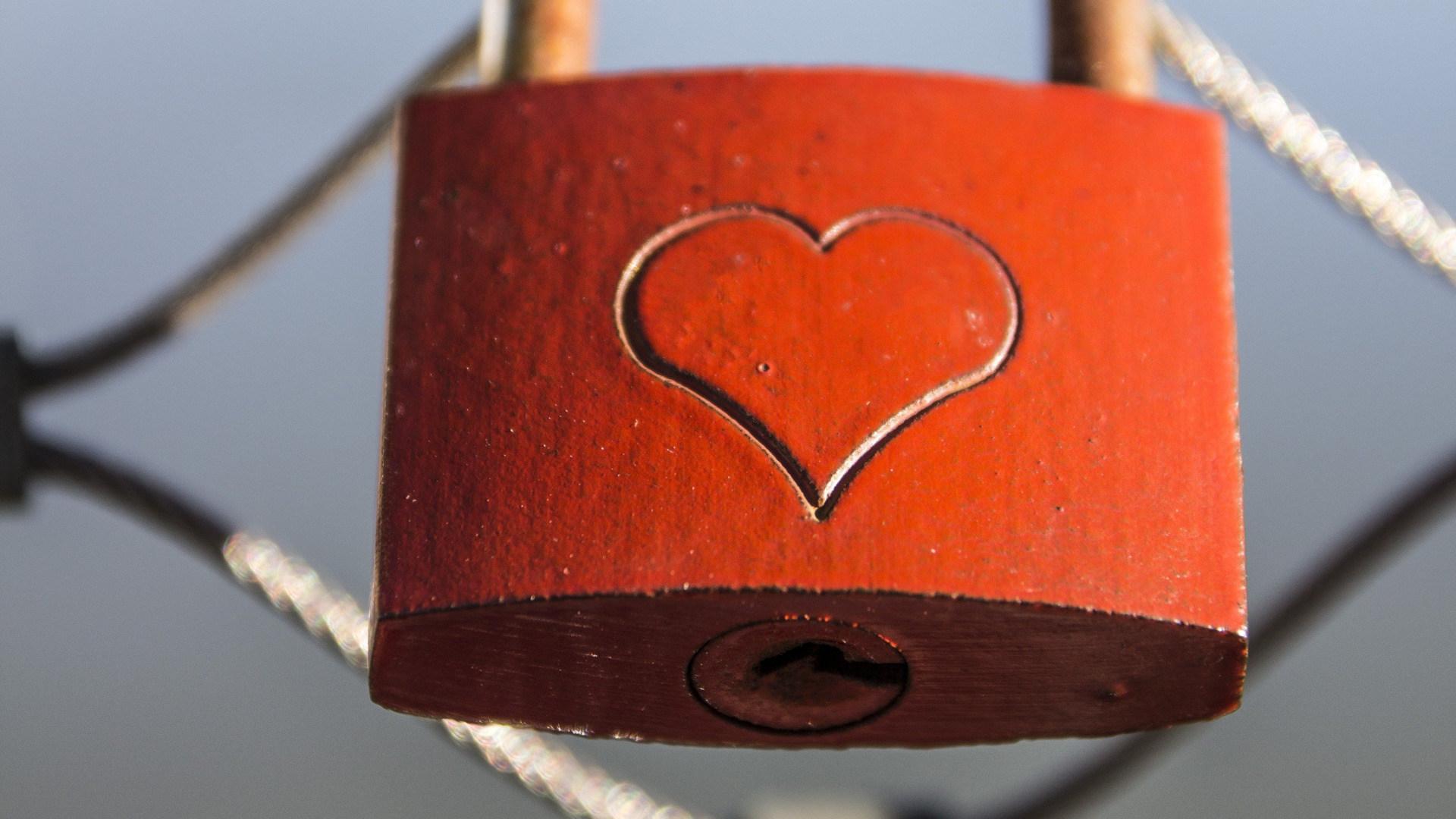 Sicherheit, schloss, Valentinstag, Liebe, Herz