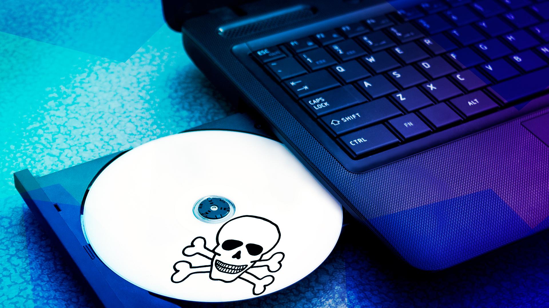 Filesharing, Piraterie, Dvd, Cd, Filesharer, Piracy, Softwarepiraterie, Totenkopf