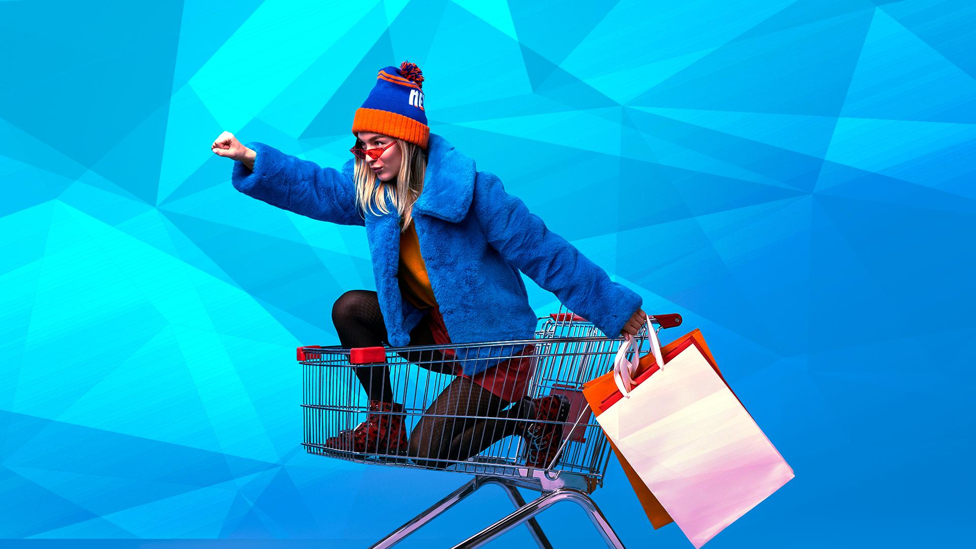shopping, Handel, Kaufen, Einkaufen, Einkaufswagen, Stationäre Geschäfte, Shopping Cart, caddy, Einkaufstrolley, Einkaufsroller, Rolli, Hackenporsche, Pelzmantel