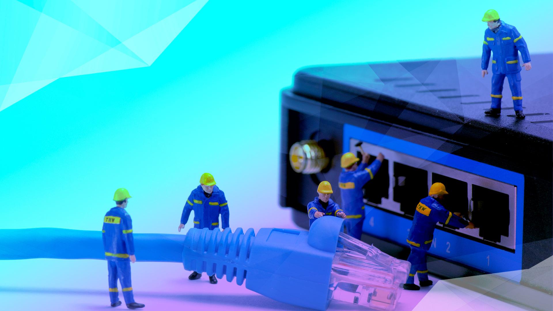 Router, Netzwerk, Breitband, Switch, Netzausbau, Dsl, Glasfaser, Datenübertragung, Kabel, Kabelnetz, Ethernet, Vernetzung, Breitband Ausbau, Fiber, Breitbandausbau, Breitband Abdeckung, Bauarbeiter, Figuren