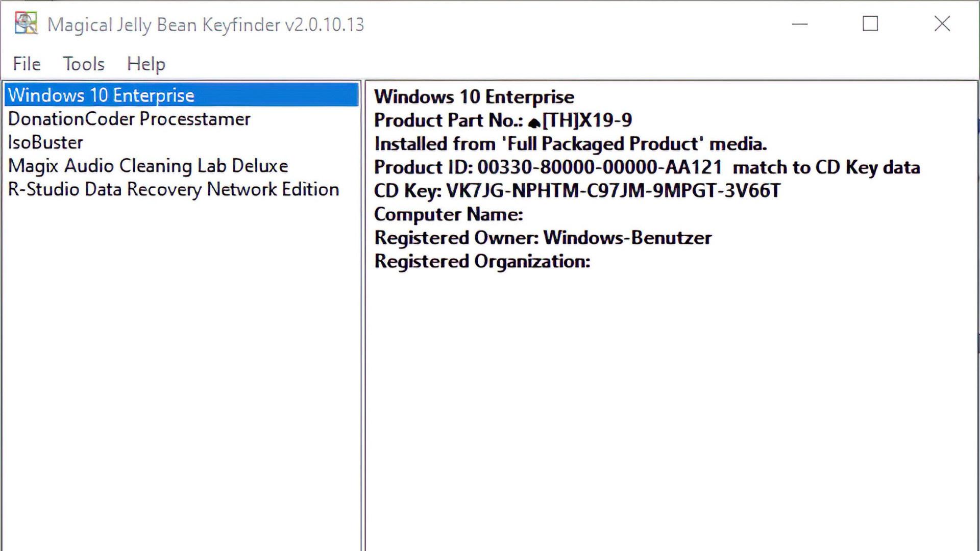 Windows, Magical Jelly Bean Keyfinder, Keyfinder
