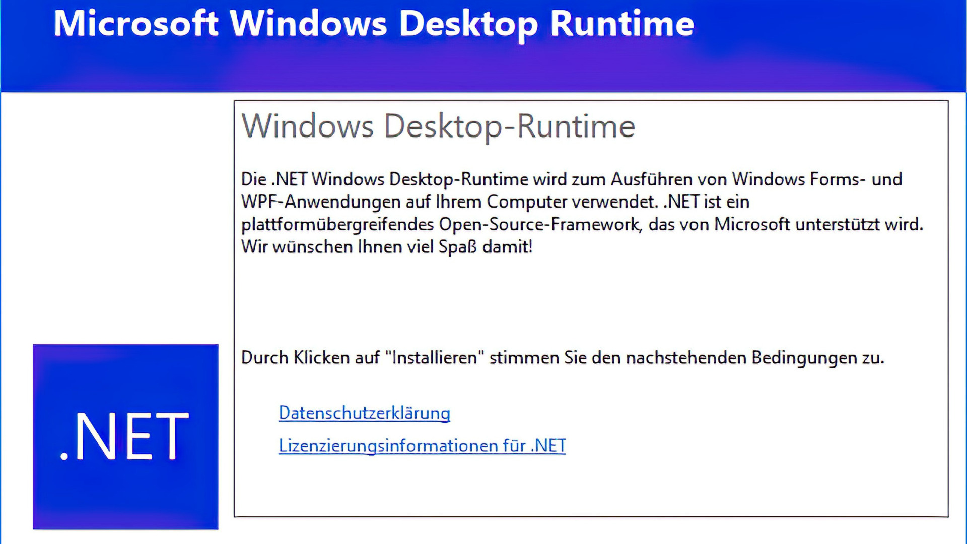 NET Runtime Download   Laufzeitumgebung für .NET Tools