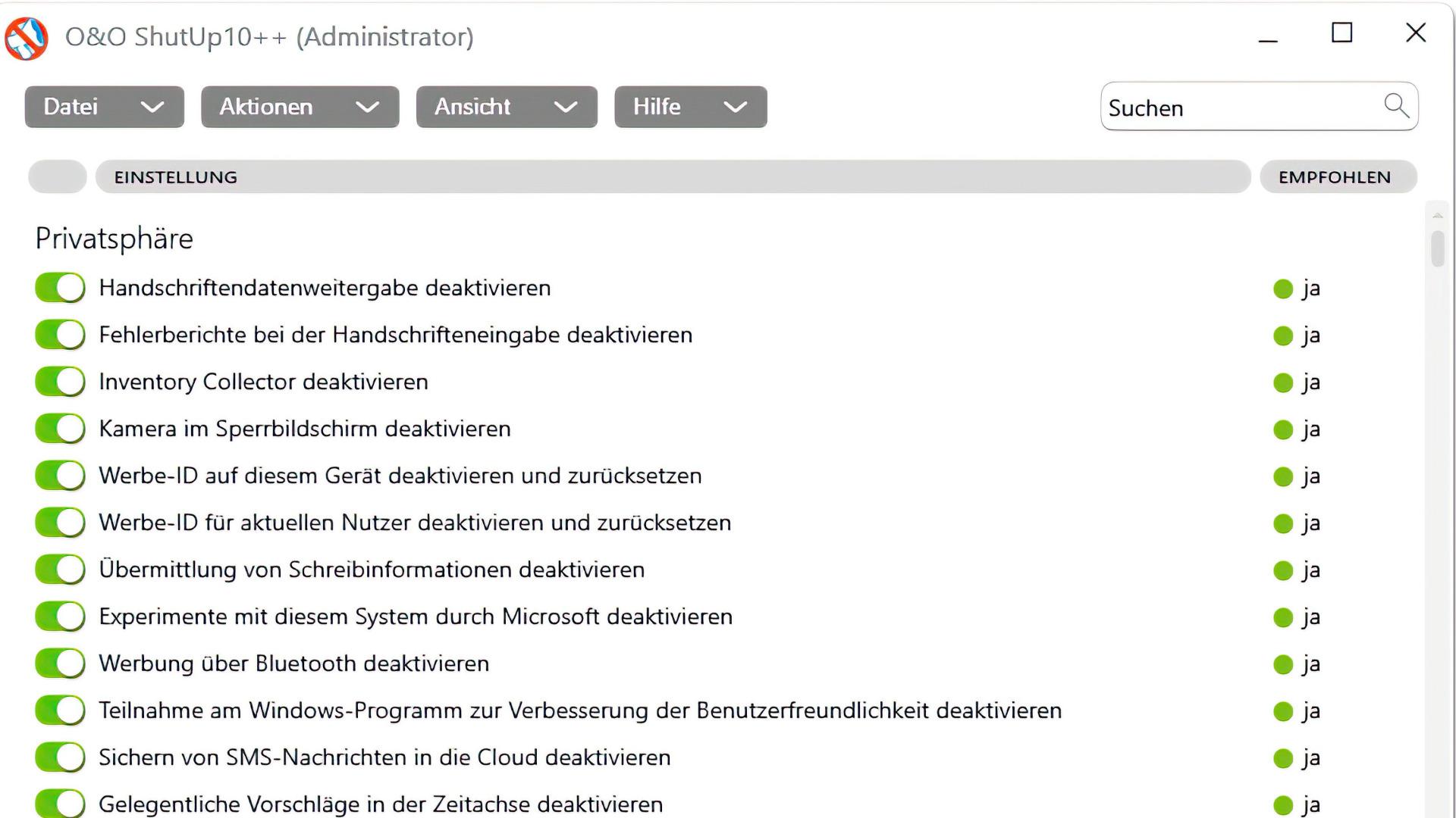 Windows 10, Antispy, O&O Software, O&O ShutUp10