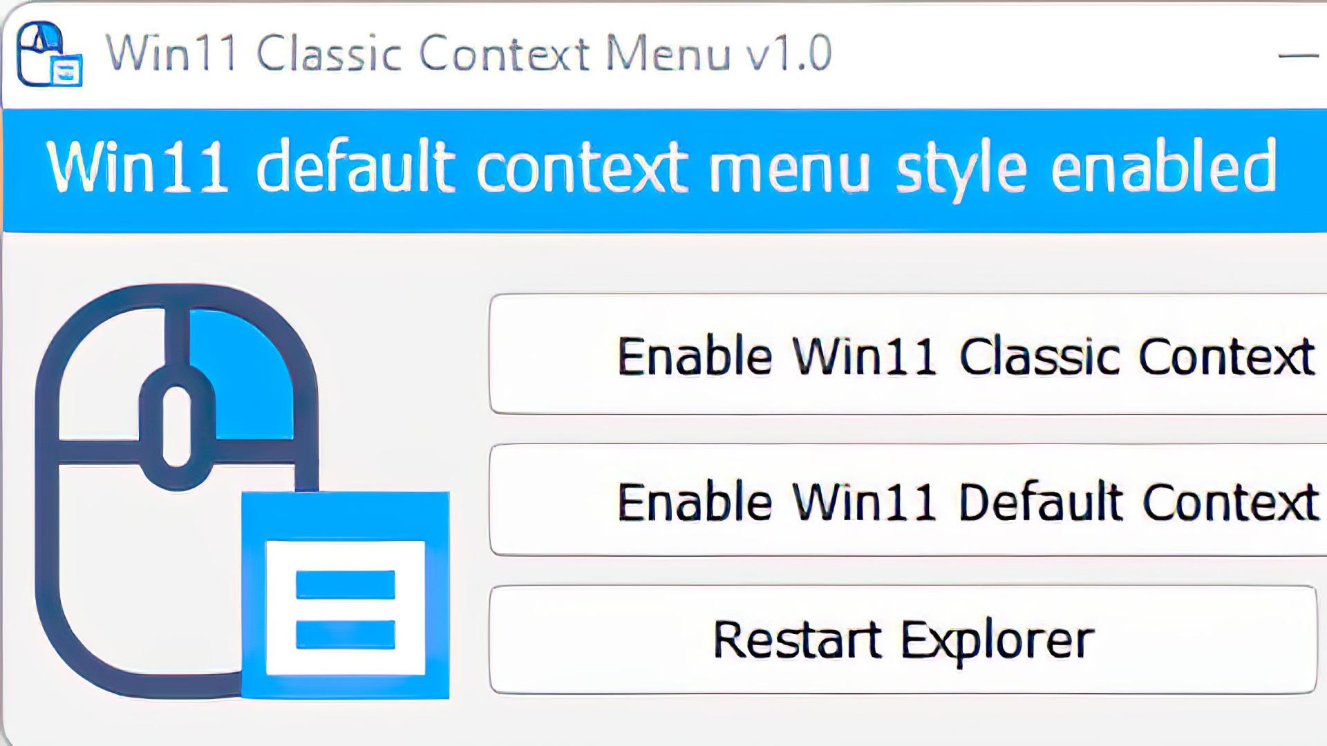 Windows 11, Kontextmenü, Windows 11 Classic Context Menu, W11ClassicMenu