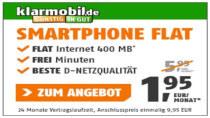 Klarmobil: Smartphone Flat 400 + 100 Freiminuten für 1,95€ pro Monat