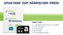 Tipp: Smart Surf LTE-Tarif für nur 3,99 Euro inkl. Amazon-Gutschein