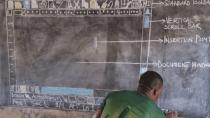Lehrer in Ghana erklärt Schülern Word - ohne Computer, nur auf Tafel