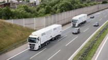 Weltpremiere: Erster Alltagsbetrieb vernetzter Lkw-Kolonnen auf der A9