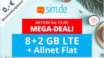 Nur noch heute: 10 GB LTE-Tarif mit Flats von Sim.de für unter 10 Euro