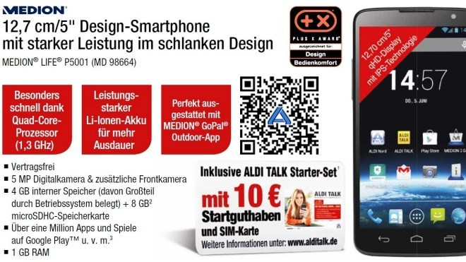 Medion Life P5001, Aldi-Smartphone, P5001