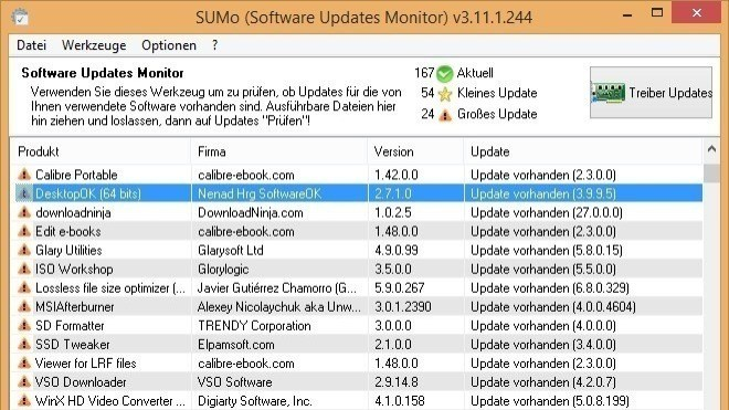 Updates, SUMo, Software Update Monitor