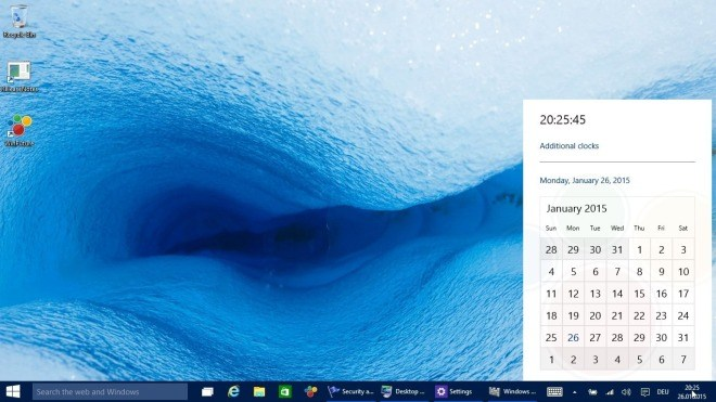 Windows 10, Uhr, Kalender, Windows 10 Build 9926, Windows 10 January Preview, Windows 10 Technical Preview Build 9926
