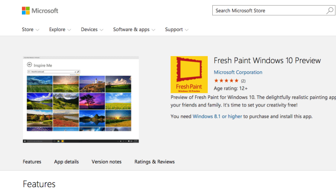 Windows 10, Preview, Fresh Paint