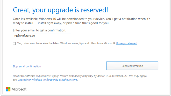 Windows 10, Windows 10 Upgrade, Reservierung, Upgrade-Reservierung