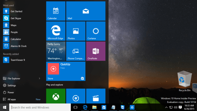 Windows 10, Windows 10 Build 10154, Windows 10 Insider Preview Build 10154