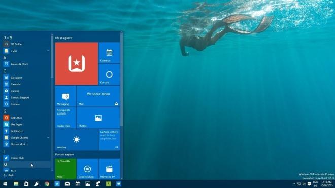 Windows 10, Startmen�, Windows 10 Insider Preview Build 10576, Windows 10 Build 10576
