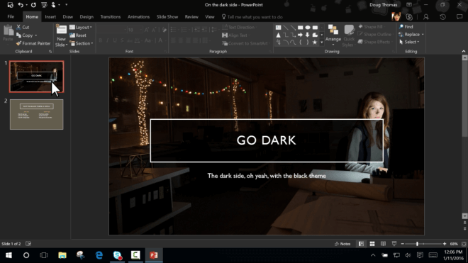 Preview, Insider Preview, Office 2016, Dark Theme, Build 16.0.6568.201