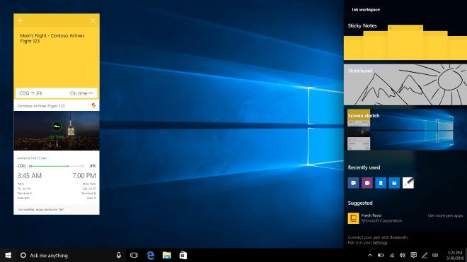 Windows 10, Cortana, Benutzeroberfl�che, Redstone, Windows 10 Redstone, Windows Redstone, Windows 10 Anniversary Update, Action Center, Windows 10 Desktop, Windows 10 Version 1607, Ink Workspace