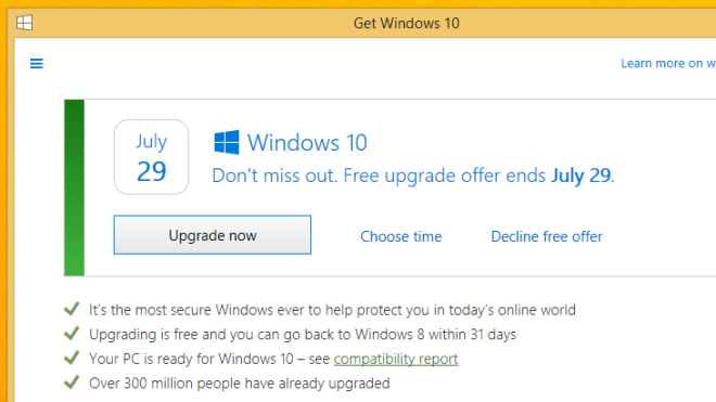 Windows 10, Windows 10 Upgrade, Gratis Upgrade, Upgrade Reservierung, Upgrade Angebot
