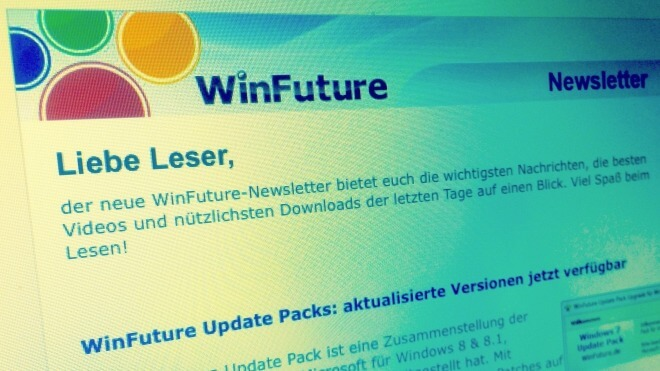 Screenshot, WinFuture.de, Newsletter