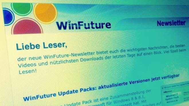Screenshot, WinFuture.de, Newsletter