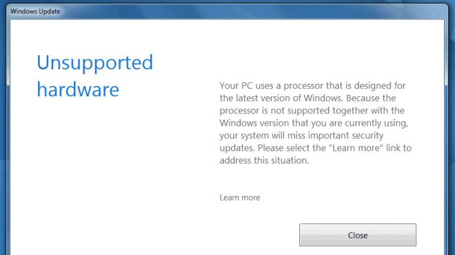 Windows 7, Windows Update, Windows 10-Zwang, Update-Sperre, Unsupported Hardware