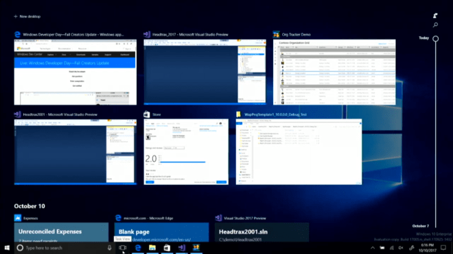 Windows 10, Timeline, Zeitstrahl, Task View, Windows Timeline, Windows 10 Build 17005