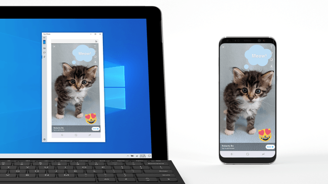 Your Phone, Mirroring, Phone Screen, Windows 10 Build 18356