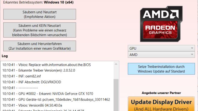 Treiber, Uninstaller, DDU, Display Driver Uninstaller