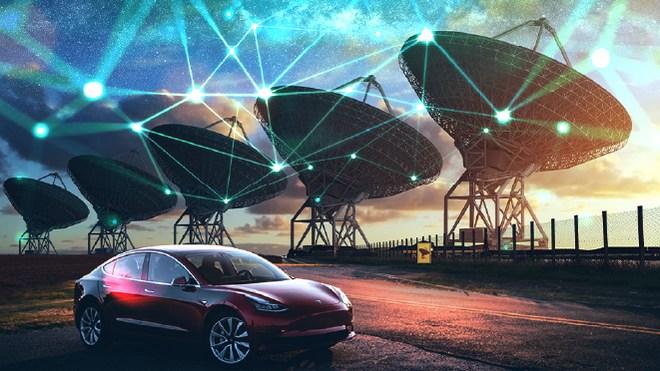 Auto, tesla, Navigation, Satellit, Tesla Motors, Datenübertragung, Traffic, Funk, Telekommunikation, Gps, Satelliten, Teleskop, Vernetzung, Geodaten, Location, Radioteleskop, Satelliten Internet, Location-Tracking, Space, Geolocation, Satellitennavigation, Wüste, Weltraumteleskop, Satellitenschüssel