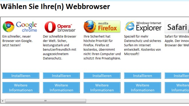 Browser, Windows 7, Browserwahl