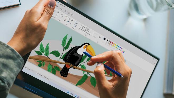 Windows 11: Stockfoto zeigt die Paint-App im überarbeiteten Design