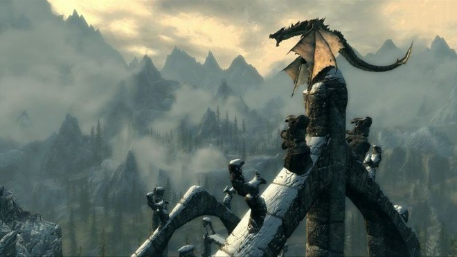 Videospiel, Screenshot, Skyrim, Drache