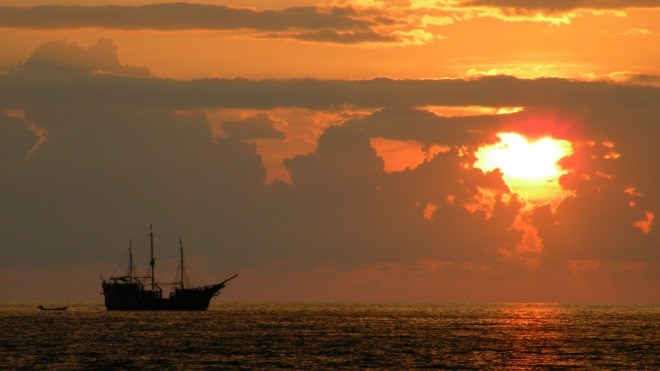 Piraten, Schiff, Meer, Abend