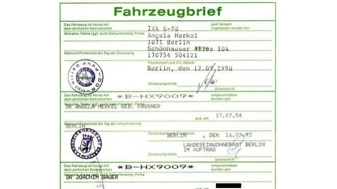 Angela Merkel, Bundeskanzlerin, Fahrzeugbrief