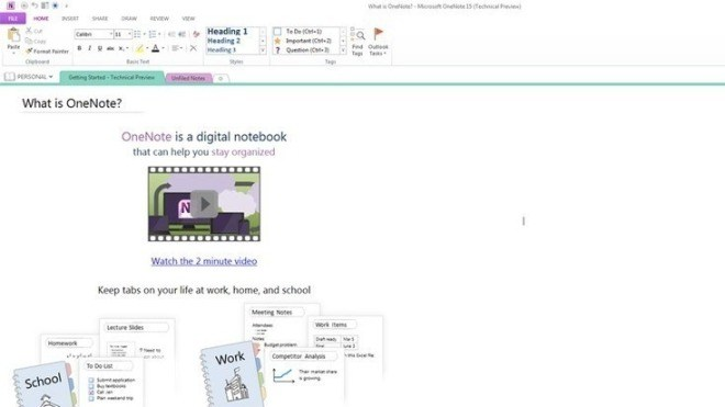 Technical Preview, Office 15, OneNote  2013