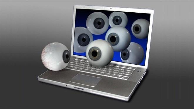 Datenschutz, Laptop, Augen