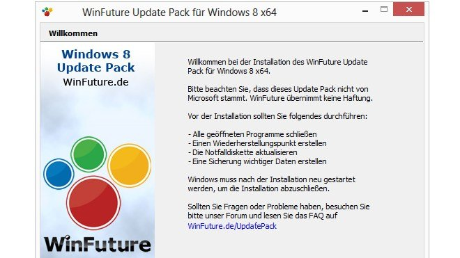 Windows 8, Winfuture, Update Pack