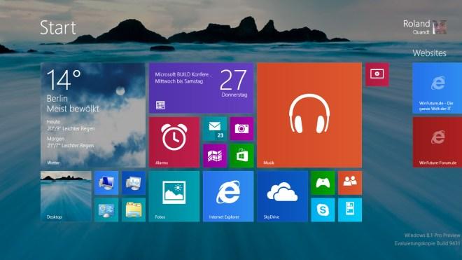 "Microsoft, Betriebssystem, Windows, Windows 8, Windows 8.1, Oberfl�che, Build, Windows Blue, Windows Codename ""Blue"", modern ui, Windows 8.1 Blue, Blue, Windows ""Blue"", build 2013, Start-Button, Startknopf, Windows 8.1 Preview, Windows 8.1 Build 9431"