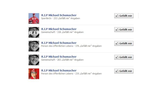 Facebook, Unfall, Michael Schumacher